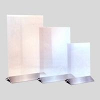 Afisaj poster transparent vertical cu baza inox A6