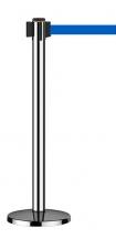 Stalp delimitare cu banda retractabila albastra (baza+stalp)