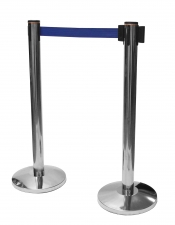 Set 2 bucati stalp cu banda retractabila albastra (baza+stalp)